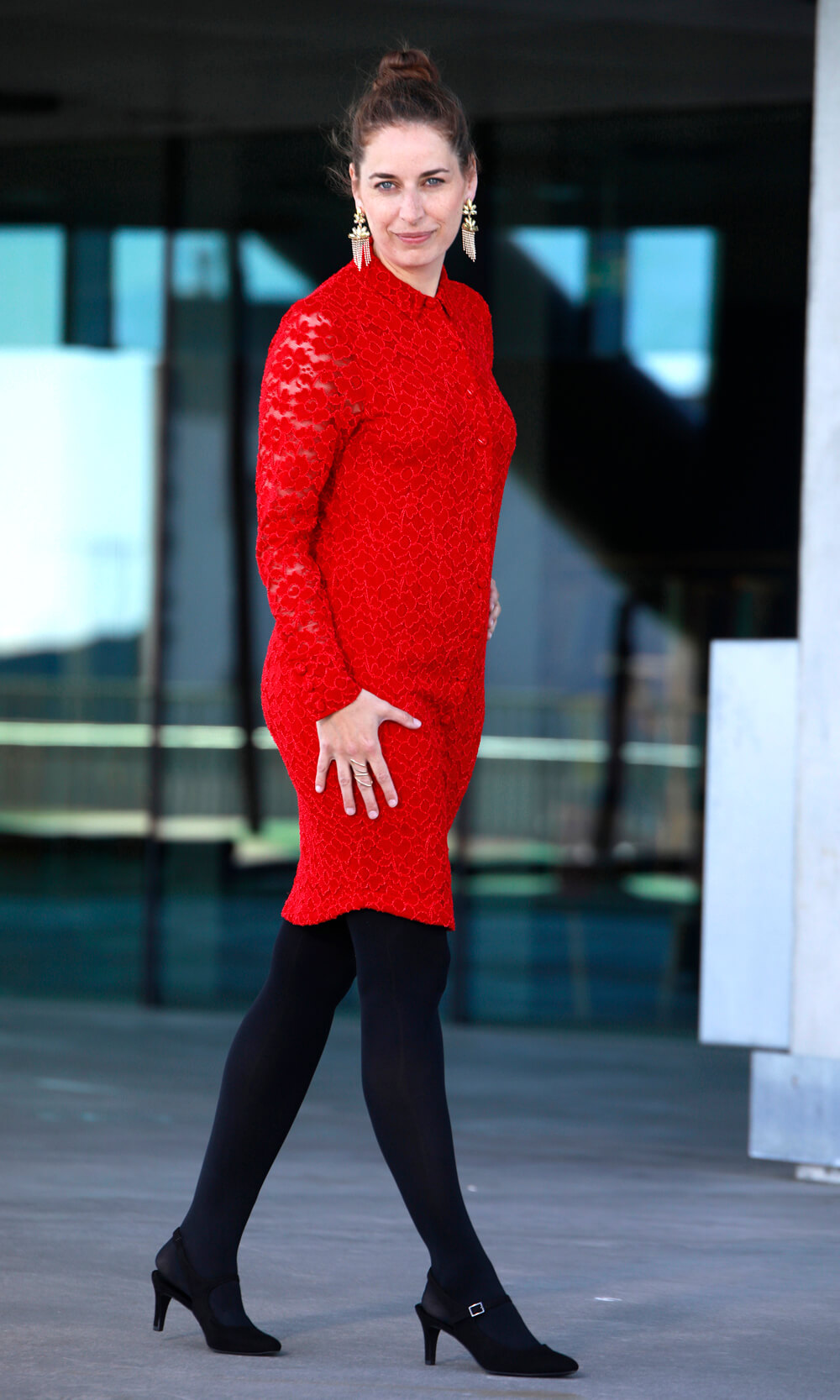 Rød blonde skjortekjole