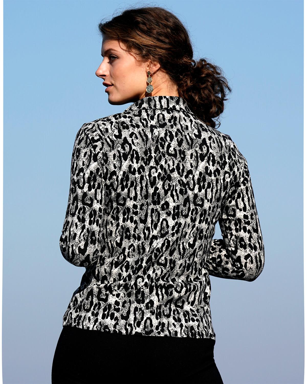 Sort hvid leopard skjorte dame