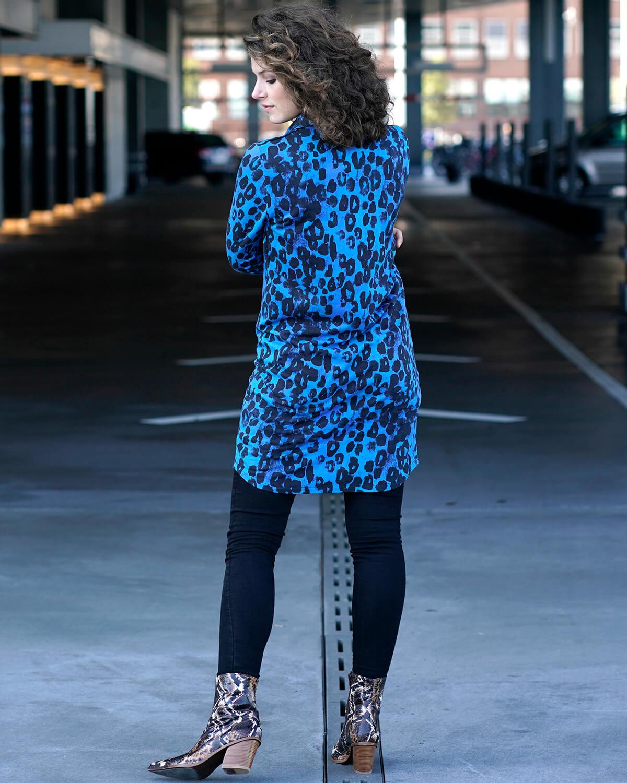 Blå leopard skjortekjole