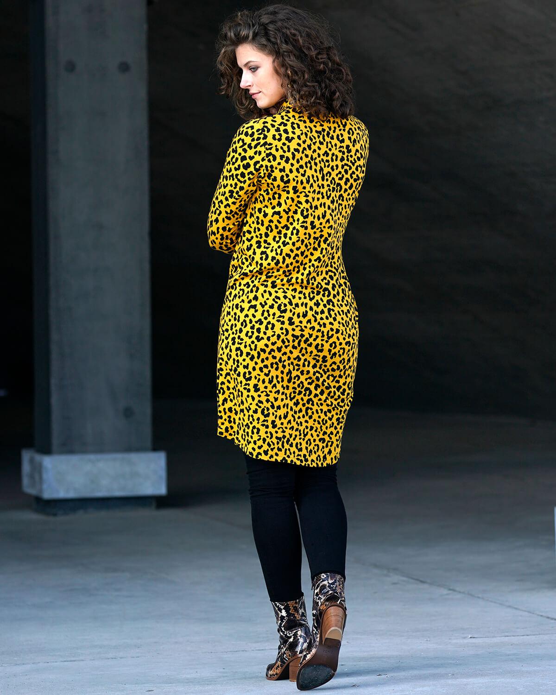 Gul leopard skjortekjole
