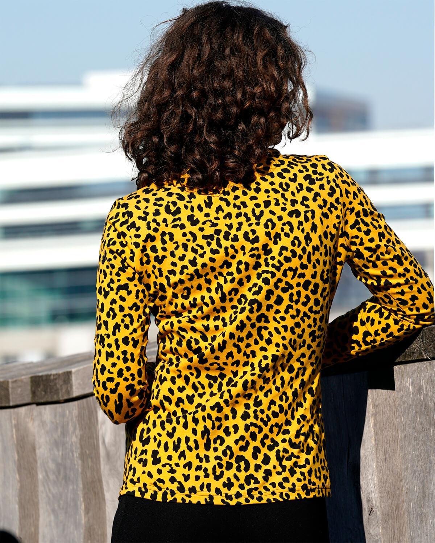 Gul sort leopard skjorte