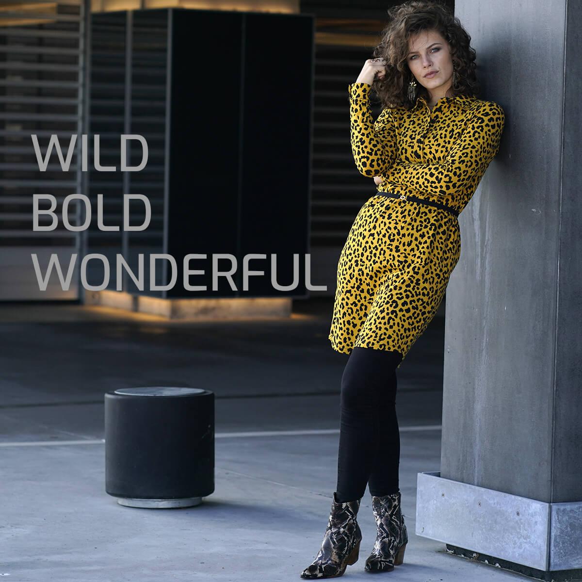 LaZoy gul leopard kjole