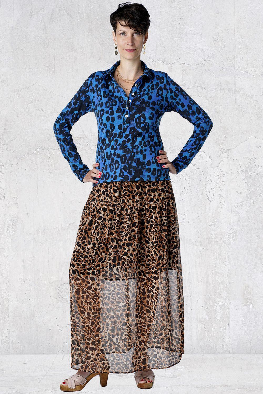 Blå leopard skjorte