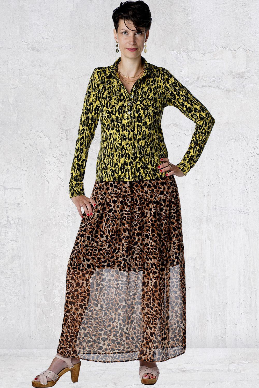 Gul leopard skjorte dame